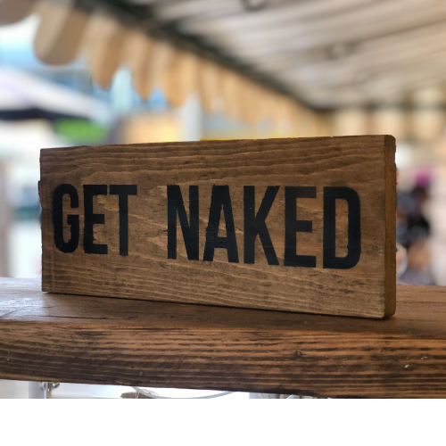 Get naked small sign